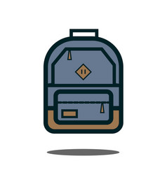 gray backpack isolated backpack on white vector image
