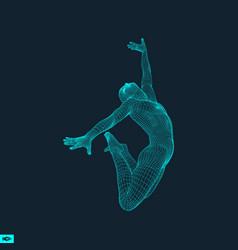 Gymnast 3d model of man human body sport grid vector