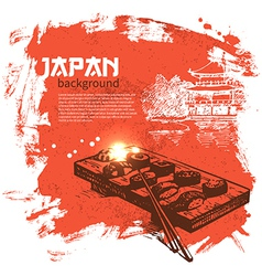 Hand drawn vintage Japanese sushi background vector image