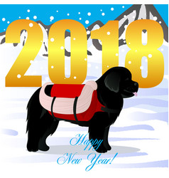 Happy new year card with newfoundland lifesaver vector