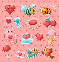 Happy valentine day set stickers vector