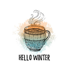 hello winter hand drawn doodle poster hot tea vector image