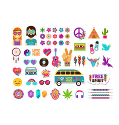 hippie bohemian design with icons set stickers vector image