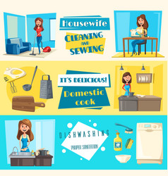 Icons for housework cleaning washing sewing vector
