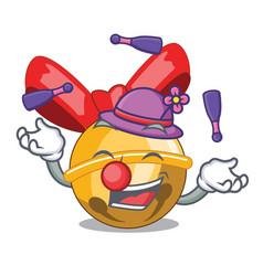 Juggling christmas jinggel bell balls with cartoon vector