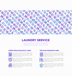 laundry service concept with thin line icons vector image