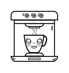 Line kawaii cute happy coffee maker technology vector