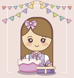 little girl with gift box and sweet cake vector image