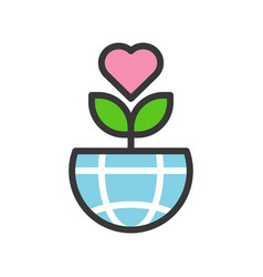Love tree on globe or planet earth icon filled vector