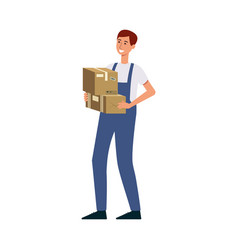 male courier with delivery man uniform holding vector image