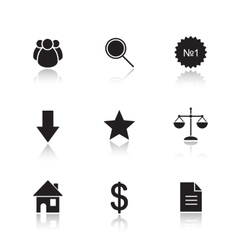 Marketing tools drop shadow icon set vector