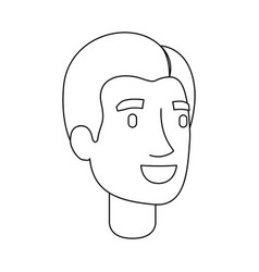 Monochrome silhouette of man face with short hair vector