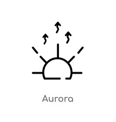 Outline aurora icon isolated black simple line vector