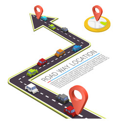 Paved path on the road road isometric location vector