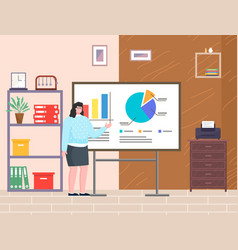 Presentation woman show financial plan standing vector