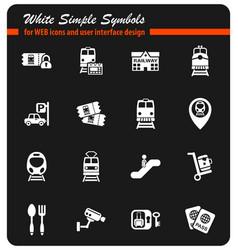 Railway station icon set vector