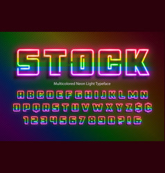 rainbow neon light alphabet extra glowing font vector image