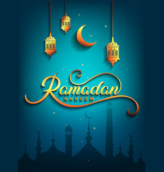 ramadan kareem greeting beautiful lettering for vector image