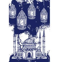 Ramadan lantern and islam mosque with crescent vector