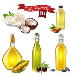 Realistic oil product set vector