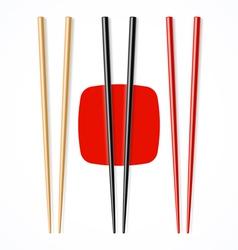 Red black wooden chopsicks vector image