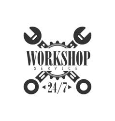 Round The Clock Car Repair Workshop Black And vector image