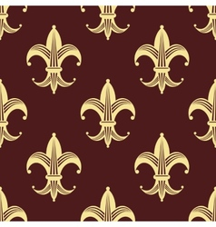 Seamless background pattern of yellow fleur de lys vector image