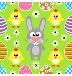 Seamless easter background with rabbit and chicke vector