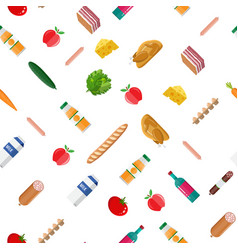 seamless grocery set pattern vector image