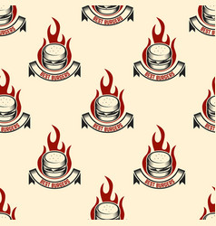 seamless pattern with burgers design element vector image