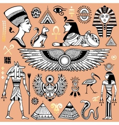 set isolated egypt symbols vector image