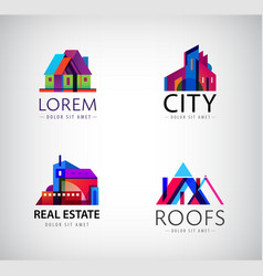 set modern city logos business building vector image