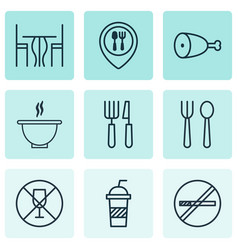 Set of 9 meal icons includes eating house fork vector