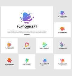 set of play tornado logo design concept fast play vector image