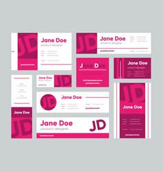 set pink business cards for designer vector image