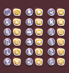 set with shiny silver and gold interface buttons vector image