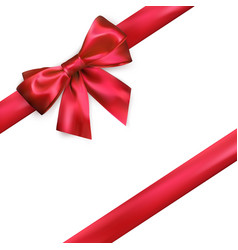 shiny red silk bow and ribbon on white background vector image