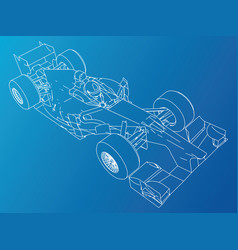 sport race car abstract drawing tracing vector image