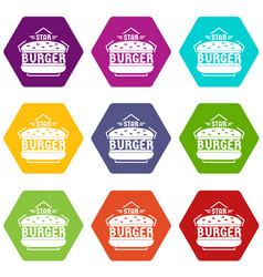 star burger icons set 9 vector image