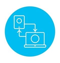 Synchronization smartphone with laptop line icon vector image