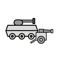 Tank military force with cannon war vector