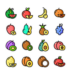 Thin line fruits icons set vector