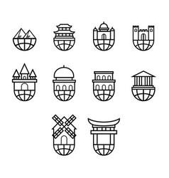 Thin line world travel icon set vector