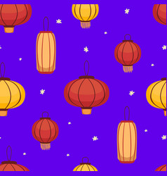 traditional asian lanterns seamless pattern vector image