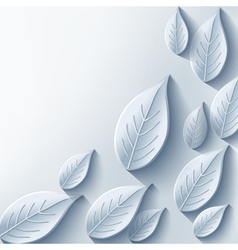Trendy abstract background with gray 3d leaf vector image