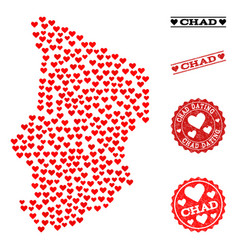 valentine mosaic map of chad and grunge stamps for vector image