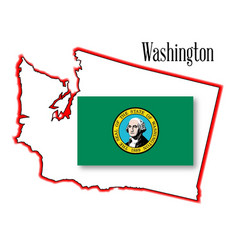 Washington state map and flag vector