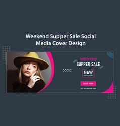 Weekend fashion shop super sale social media cover vector