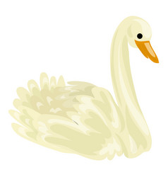 white swan icon cartoon style vector image