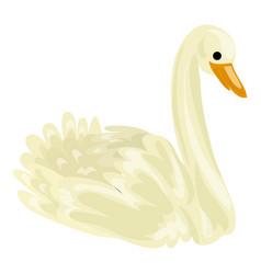 white swan icon cartoon style vector image